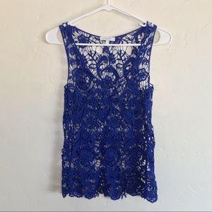 Delia's Cobalt Blue Crochet Cropped Tank Top Small